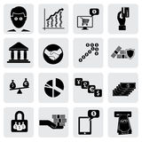 Bank- & pengarsymboler (tecken) släkta rikedom, tillgångar Arkivbild