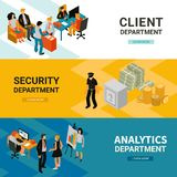 Bank People Isometric Banners royalty free illustration