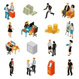 Bank People Isometric Icons. Set with teller financial adviser customer policeman coins banknotes lock safe isolated vector illustration Royalty Free Stock Photography