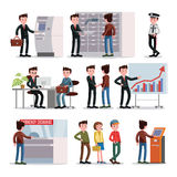 Bank People Set. With customers clients and staff in different situations isolated vector illustration Royalty Free Stock Image