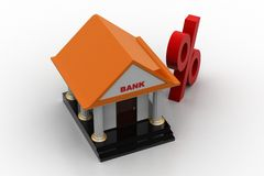 Bank with percentage sign Stock Photo
