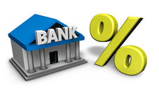 Bank And Percentage Symbol. Bank building with gold percentage symbol 3d rendering Royalty Free Stock Photography