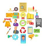 Bank phishing icons set, cartoon style. Bank phishing icons set. Cartoon set of 25 bank phishing vector icons for web isolated on white background Royalty Free Stock Photos