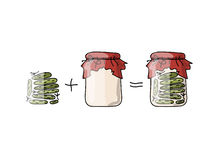Bank of pickled cucumber, sketch for your design Stock Photos