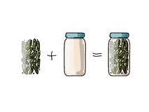 Bank of pickled cucumber, sketch for your design Stock Images
