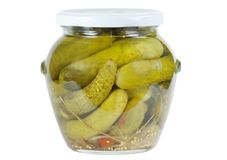 Bank of pickled cucumbers Royalty Free Stock Image