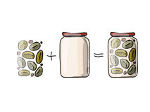 Bank of pickled olives, sketch for your design Royalty Free Stock Photo