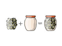 Bank of pickled olives, sketch for your design Royalty Free Stock Photos