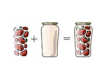 Bank of pickled tomatos, sketch for your design Royalty Free Stock Image