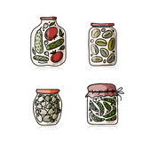 Bank of pickled vegetables, sketch for your design Stock Photography