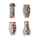 Bank of pickled vegetables, sketch for your design Royalty Free Stock Photos