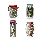 Bank of pickled vegetables, sketch for your design Royalty Free Stock Photo