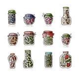 Bank of pickled vegetables, sketch for your design Stock Image