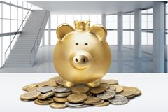 Piggy bank and coins, close-up view Stock Images
