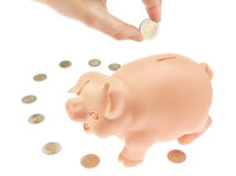 Bank piggy bank for money euro. Royalty Free Stock Image