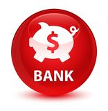 Bank (piggy box dollar sign) glassy red round button Stock Photography