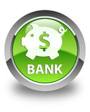 Bank (piggy box dollar sign) glossy green round button Royalty Free Stock Photography
