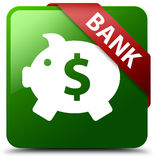Bank piggy box dollar sign green square button Royalty Free Stock Images