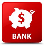 Bank (piggy box dollar sign) red square button Royalty Free Stock Photo