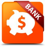 Bank (piggy box dollar sign) orange square button red ribbon in Royalty Free Stock Photos