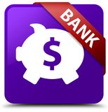 Bank (piggy box dollar sign) purple square button red ribbon in Royalty Free Stock Images