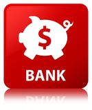 Bank (piggy box dollar sign) red square button Royalty Free Stock Photography