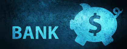 Bank (piggy box dollar sign) special blue banner background. Bank (piggy box dollar sign) isolated on special blue banner background abstract illustration vector illustration