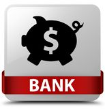 Bank (piggy box dollar sign) white square button red ribbon in m Stock Images