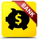 Bank (piggy box dollar sign) yellow square button red ribbon in Stock Images