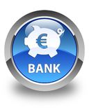 Bank (piggy box euro sign) glossy blue round button. Bank (piggy box euro sign) isolated on glossy blue round button abstract illustration Royalty Free Stock Images