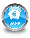 Bank (piggy box euro sign) glossy cyan blue round button. Bank (piggy box euro sign) isolated on glossy cyan blue round button abstract illustration Royalty Free Stock Photos