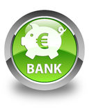 Bank (piggy box euro sign) glossy green round button Royalty Free Stock Photography