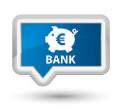 Bank (piggy box euro sign) prime blue banner button. Bank (piggy box euro sign) isolated on prime blue banner button abstract illustration Stock Images