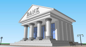 Bank, prawa strona widok Zdjęcia Royalty Free
