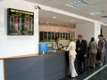 Bank. Queue at the counter at the bank for personal loans Royalty Free Stock Photos