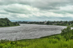 Bank of a quiet Russian river Royalty Free Stock Photo