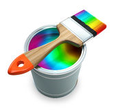 Bank with rainbow  paint and brush Stock Photos