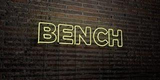 BANK - realistische Leuchtreklame auf Backsteinmauerhintergrund - 3D übertrug freies Archivbild der Abgabe Lizenzfreie Stockfotos