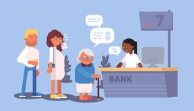 Bank reception queue flat design. Vector illustration vector illustration