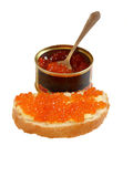 Bank of red caviar and a sandwich Royalty Free Stock Photo