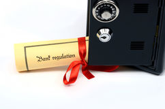 Bank regulation and steel safe Royalty Free Stock Image