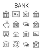 Bank related vector icon set. Well-crafted sign in thin line style with editable stroke. Vector symbols isolated on a white background. Simple pictograms Stock Image