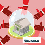 Bank reliability. business illustration. hands are drawn to mone Stock Images