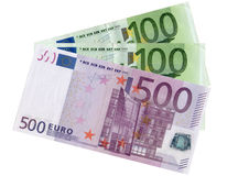 bank repet för anmärkningen för pengar för fokus hundra för euroeuros fem arkivfoton