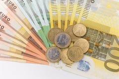bank repet för anmärkningen för pengar för fokus hundra för euroeuros fem Arkivbild