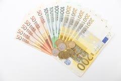 bank repet för anmärkningen för pengar för fokus hundra för euroeuros fem Fotografering för Bildbyråer