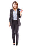 Bank representative with a credit card Stock Images