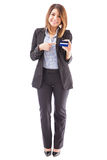 Bank representative with a credit card Royalty Free Stock Photo