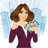 Bank representative holding a fan of money Stock Photo