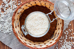 Bank of rice in a basket Royalty Free Stock Photos